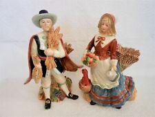 """Fitz & Floyd Harvest Heritage Pilgrim Figurine Candleholders 11"""" Man & Woman Set"""