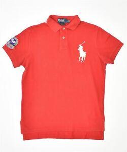 POLO RALPH LAUREN Mens Wimbledon Custom Fit Polo Shirt Small Red Cotton MO12