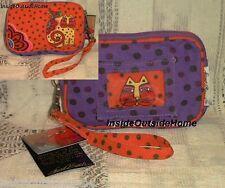 Laurel Burch Yellow Cat Parrot ID Wristlet Case Phone iPod Meds Purple Orange NW