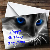Mystical Cat Personalised Birthday Greetings Card