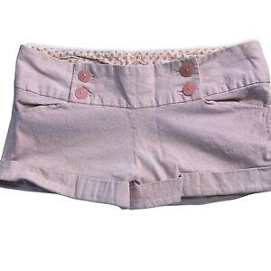Charlotte Russe Shorts Juniors Size 11 Pink Chambray Button Cuffed Hems Pockets