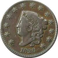 1826 1c Coronet Head Large Cent Penny Coin VF Very Fine Details