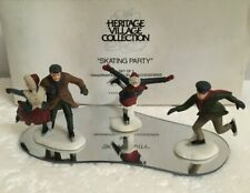Dept 56 Village Skating Party (Set of 3) #55239 + Piece of Ice (Lemax)