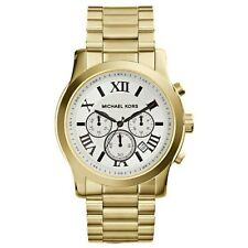 NEW Michael Kors MK8345 Men's Cooper Textured White Dial Two Tone Gold Watch hot