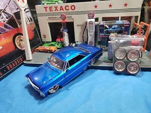 JADA BIGTIME MUSCLE 1967 CHEVY NOVA SS (BLUE)  WITH EXTRA SET OF WHEELS NICE