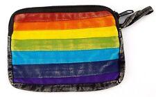 Black Spectrum Rainbow Coin Purse Bag Pouch Credit Card ID Holder Wallet Cotton