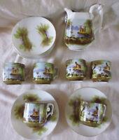 ancien service 6 tasse litron café pot à lait porcelaine paysage peint main XIXe