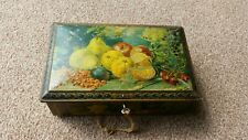 Antique Tin Lockable + Key Hinged Embossed Feet Fruit Pictures Patina Very Rare