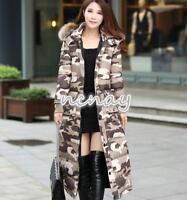 Womens Warm Long Duck Down Coat Fur Hooded Slim Fit Winter Thicken Parka Jacket