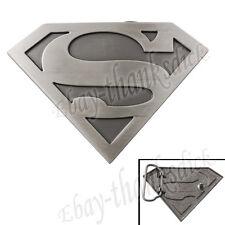 "Super Hero Superman Logo 9.5cm/3.8"" Metal Belt Buckle Cosplay Silver"