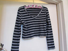 Miss Selfridge Crop Navy Stripe Stretch Cotton V Neck Top in Size 12 Petite