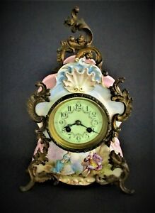 Antique French Gilt Bronze & Ceramic Clock S Marti Silver Metal 1889 Art Nouveau