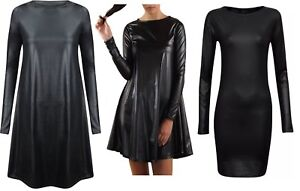 Womens Ladies Plus Size Pvc Shinny Wet Look PU Flared Skater Swing Dress  8/26