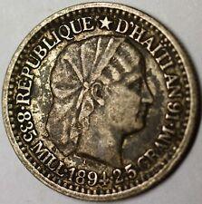 1894 Haiti 10 Cent Very Fine Circulated Silver Liberty Head Coin