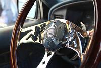 "380mm Chrome Dark Mudflap Steering Wheel Wood Grip (15"") - 6 Hole Chevy GMC C10"
