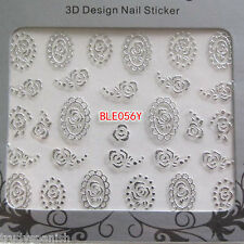 3D Nail Art Lace Roses SILVER Flowers Stickers Decals Transfers Gel Polish (56)