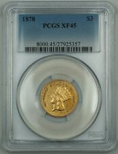 1878 $3 Gold Pcgs Xf-45 Extra Fine Coin