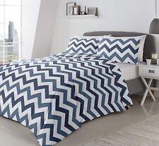 Chevron Duvet Cover Herringbone Navy Blue King Bed Quilt Cover Bedding Linen Set