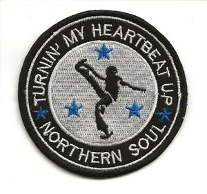 NORTHERN SOUL : TURNIN MY HEARTBEAT UP  Embroidered Iron Sew On Patch