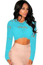 Club maglietta T-shirt Nudo Ricamato Pizzo Sheer Lace Long Sleeves Crop Top M
