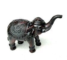 "Mahogany Colored Elephant Figurine Solid Statue Decor - 5"" x 4"" x 2.5"""