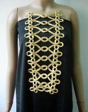 MR185 Gold Metallic Trapezoid Fleur-De-Lis Loops Corded Motif Sewing/Design