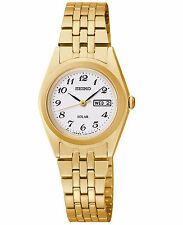 Seiko Women's SUT118 Solar White Dial Stainless Steel Gold-Tone Watch