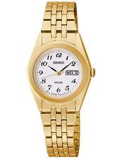 Seiko Women's SUT118 Solar White Dial Stainless Steel Gold-Tone Watch