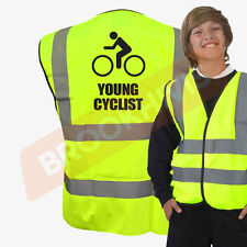 HI VIZ VIS YOUNG CYCLIST KIDS VEST FANCY DRESS JOKE CUSTOM WAISTCOAT CHILD