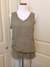 Together Olive Green Sleeveless Blouse Size 16 Drawstring Waist Rayon