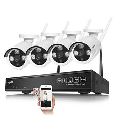 Sannce 4Ch WiFi 1080P Video Nvr Ip Network Ir In/Outdoor Security Camera System