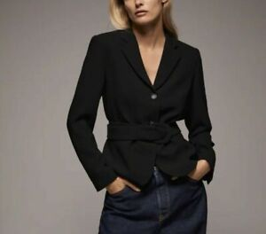 Zara NWT Black Belted Jacket Blazer XL Retail $119