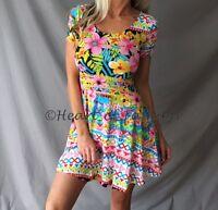 Women's Multicolor Floral Geo Print Fit & Flare Short Sleeve Summer Mini Dress