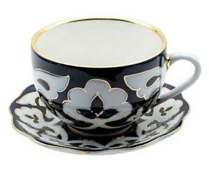 Turan Porcelain Teacup and Saucer, Handmade Uzbek Pakhta, 200 ml, Gold Plated