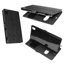 custodia eco pelle Nera cover per Sony xperia Z3  flip case protezione con Stand