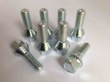 M12 x 1.5, 17mm Hex, 24mm thread, tapered seat alloy wheel bolts. Set of 8