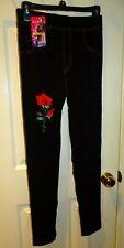 Modal Korean Fashion Pants Black Jean Look Leggings Red Rose Embroidered S-M
