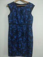 Hobbs London Black Blue Silk Cotton Fitted Occasion Dress Size 12 Office Work