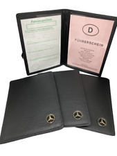 Echt Leder KFZ Fahrzeugschein Mappe Etui Mercedes Benz Logo 2 Fächer NEU Schwarz