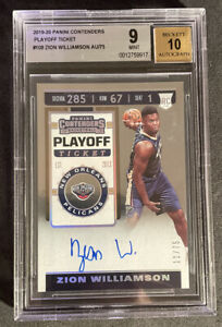 Zion Williamson /75 RC Panini Contenders Playoff Ticket BGS 9 10 On Card Auto
