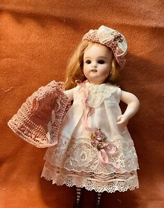 "Vtg White Off/ embroidered cotton dress/German/French mignonette dolls 7.5""&8"""