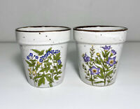 "Vintage 70's 3"" Mini Planters Speckled Ceramic Flowers Succulent Drainage Japan"