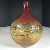 """Round Art Studio Glass Vase Red And Yellow With Gold Specs 10""""x 7"""" 3 lbs +"""