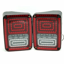 Black LED Rear Tail Lights Lamps For Jeep Wrangler Clear White/Red 2007-16 L+R