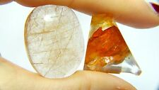 Dendrite 97.80ct rutilated quartz Brazil golden needles inclusions,  2 stones