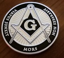 Freemason coin black on silver challenge coin