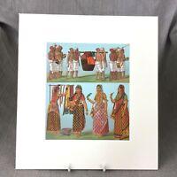 Antico Stampa Indiano Moghal Sari Racinet Storico Costume Moda Litografia