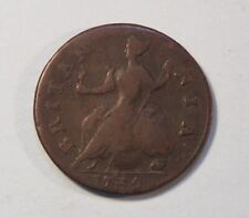 1739 Great Britain 1/2 Penny World Coin Colonial Copper England UK Britania