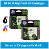 HP 60XL High-Yield Single Ink Cartridge in Box (Black or Tri-Color), EXPIRE 2021