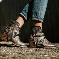 Womens PU Leather Buckle Low Heel Vintage Cowboy Roma Ankle Boots Shoes Fashion